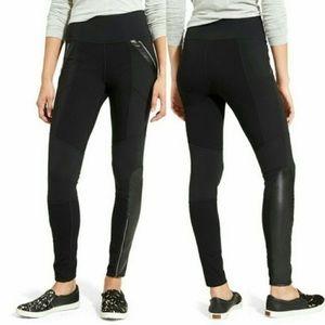 Athleta Ponte Luxe Moto Leggings in Black